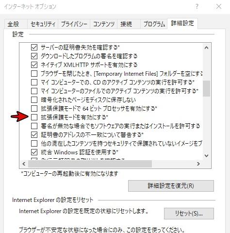インターネットオプション詳細設定